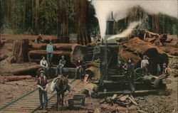 Loggers by a Freight Car and Rail Line