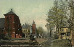 Main Street Showing Universalist and Catholic Church Postcard