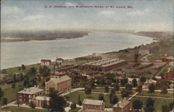 U.S. Arsenal and Mississippi River Postcard