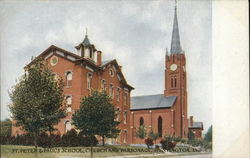 St. Peter & Paul's School, Church and Parsonage Postcard