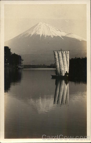 Boat on Lake Looking at Mount Fuji Japan