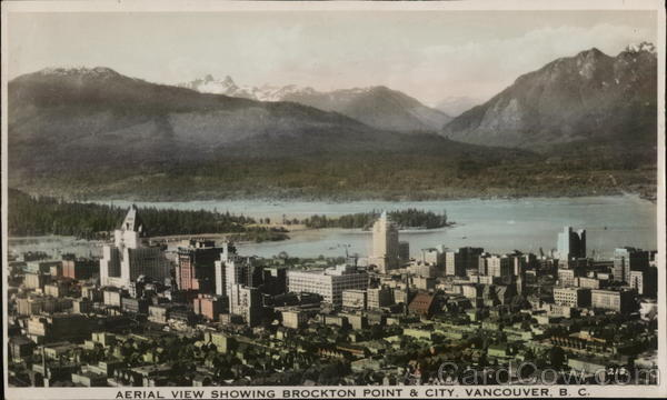 Aerial View Showing Brockton Point and City Vancouver Canada