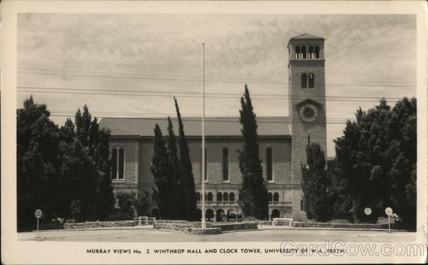Murray Views No. 2. Winthrop Hall and Clock Tower, University of W.A. Perth Washington Australia