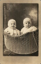 Portrait of Two Babies in Basket