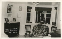 Room in Which Pres. Coolidge Was Born Postcard
