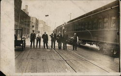 Men Posing by Train B&O