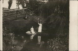 Two Women By Log Bridge Postcard