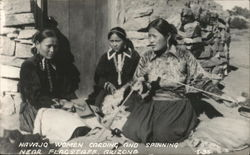 Navajo Women Carding and Spinning