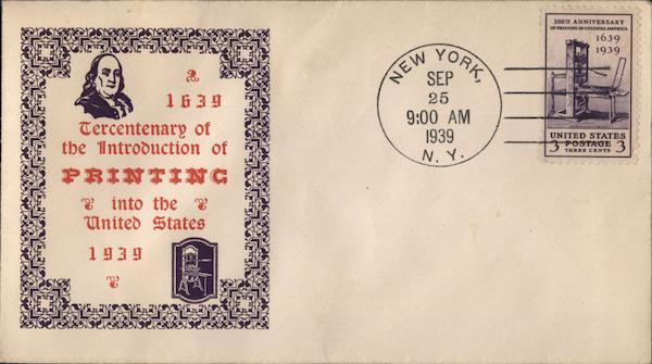 1639 Tercentenary of the introduction of Printing into the United States 1939