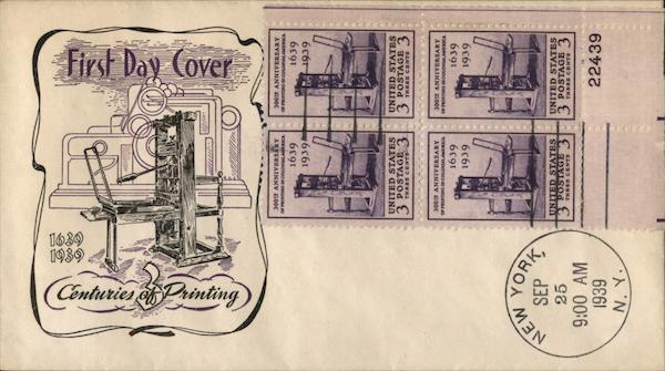 1639-1939 Centuries of Printing First Day Covers