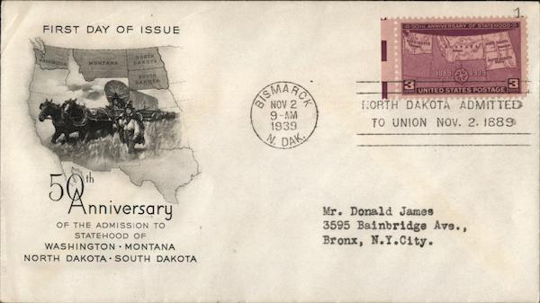 50th Anniversary of the Admission to Statehood First Day Covers