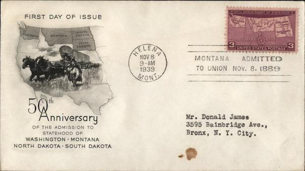 50th Anniversary of the Admission to Statehood of Washington - Montana- North Dakota - South Dakota