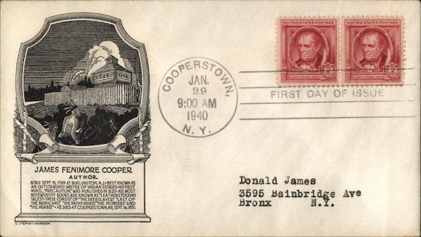 James Fenimore Cooper - Author First Day Covers