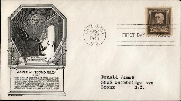 James Whitcomb Riley 1854 - Poet - 1916 First Day Covers