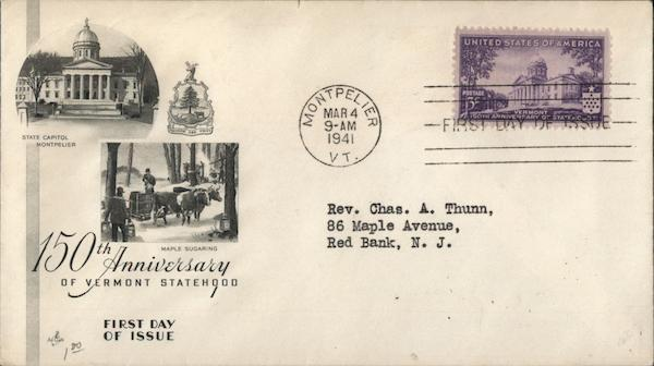 150th Anniversary of Vermont Statehood First Day Covers