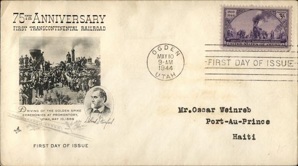 75th Anniversary First Transcontinental Railroad First Day Covers