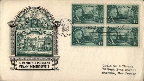 In Memory of President Franklin D. Roosevelt First Day Covers