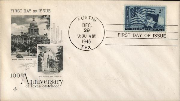 100th Anniversary of Texas Statehood First Day Covers