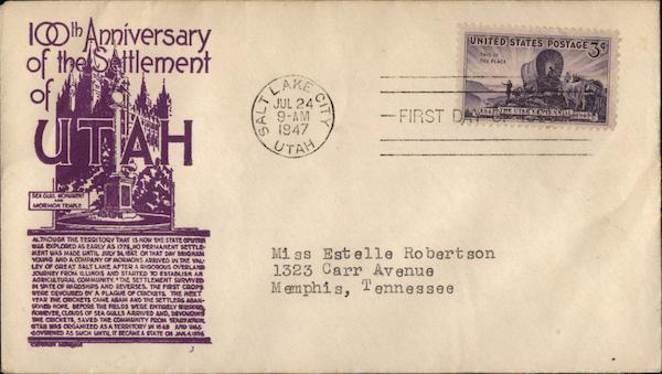 100th Anniversary of the Settlement of Utah First Day Covers