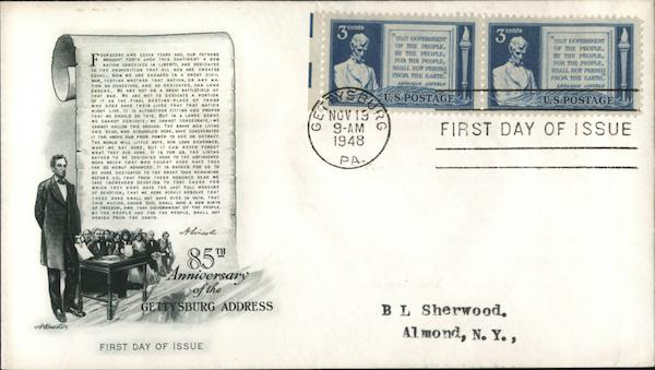 85th Anniversary of the Gettysburg Address First Day Covers