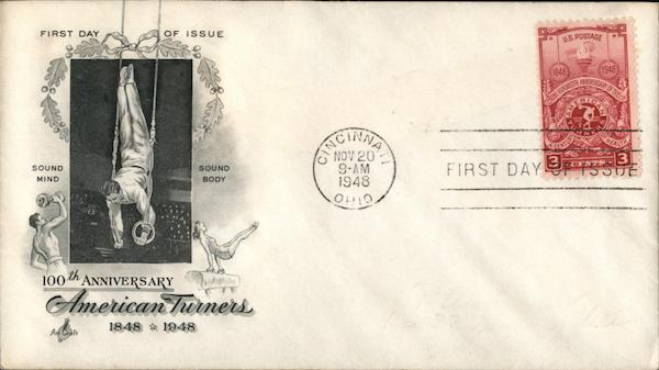 100th Anniversary American Turners 1848 - 1948 First Day Covers