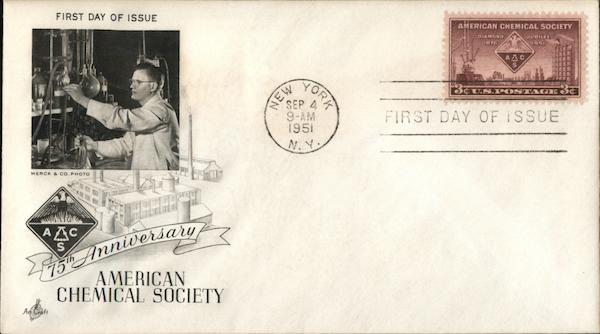 75th. Anniversary American Chemical Society. First Day Covers