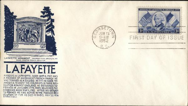 Lafayette Monument Prospect Park, Brooklyn, NY First Day Covers