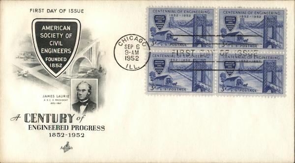 A Century of Engineered Progress 1852-1952 First Day Covers