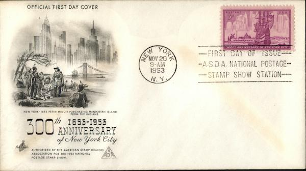 300th Anniversary of New York City 1653 - 1953 First Day Covers