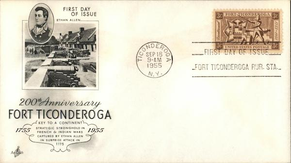 200th Anniversary Fort Ticonderoga 1755 - 1955 First Day Covers