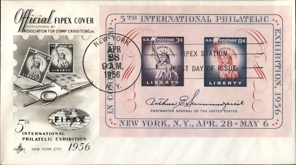 5TH International Philatelic Exhibition, New York, NY, Apr. 28-May 6, 1956, Official FIPEX Cover