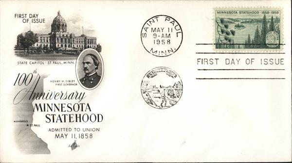 100th Anniversary Minnesota Statehood First Day Covers