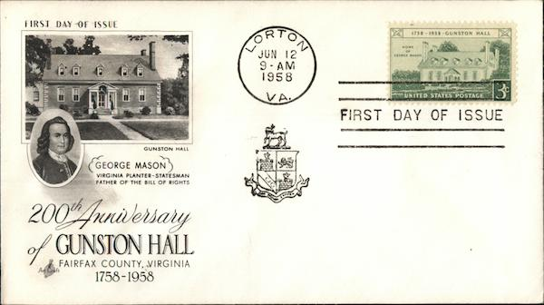 200th Anniversary of Gunston Hall First Day Covers