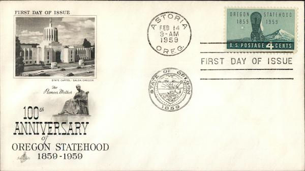 100th Anniversary of Oregon Statehood 1859-1959 First Day Covers