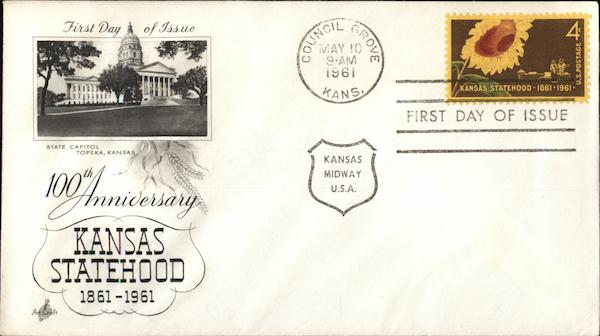 100th Anniversary of Kansas Statehood First Day Covers