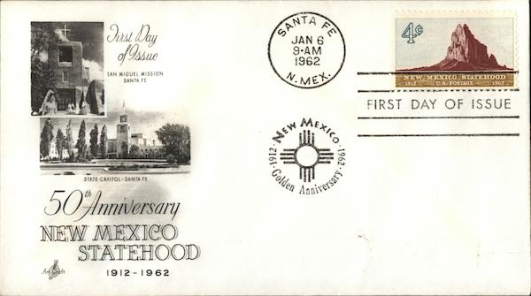 50th Anniversary New Mexico Statehood 1912-1962 First Day Covers