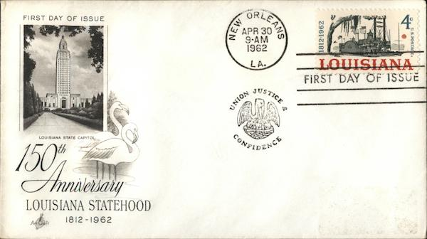 150th Anniversary Louisiana Statehood 1812-1962 First Day Covers