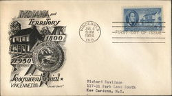 Indiana Territory Sesquicentennial 1800 - 1950 First Day Cover