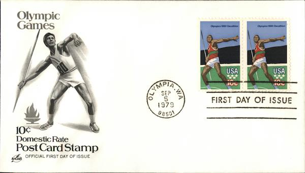 10c Domestic Rate Postcard Stamp Olympic Games First Day Covers