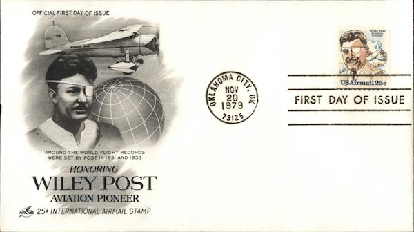 25-Cent International Airmail Stamp Honoring Wiley Post, Aviation Pioneer