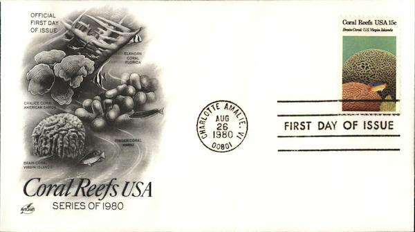 Coral Reefs USA Series of 1980 First Day Covers