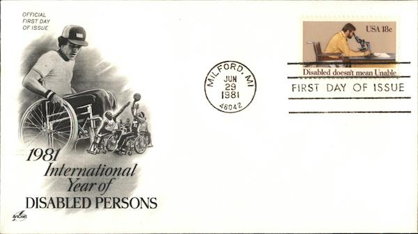 1981 International Year of Disabled Persons First Day Covers