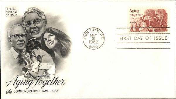 Aging Together Commemorative Stamp - 1982 First Day Covers