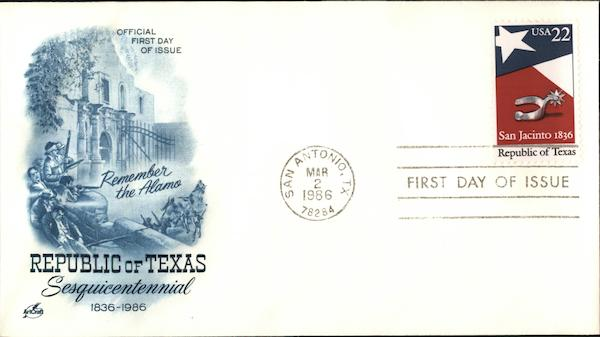 Republic of Texas Sesquicentennial First Day Covers