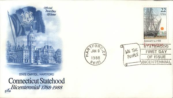 Connecticut Statehood Bicentennial First Day Covers