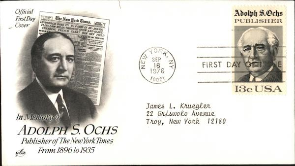 In Memory of Adolph S. Ochs, Publisher of the New York Times from 1896-1935