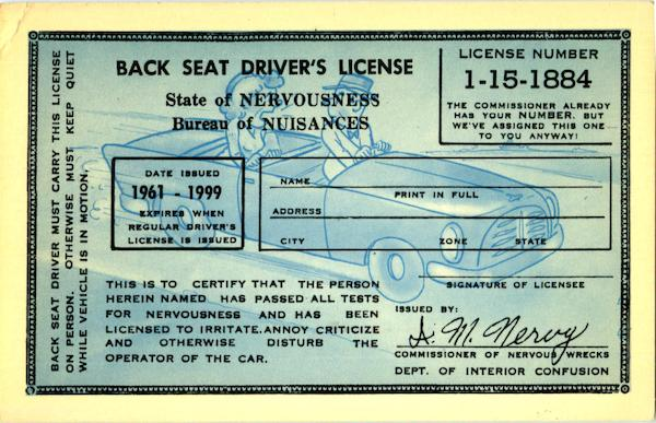 Back Seat Driver's License Comic, Funny Cars