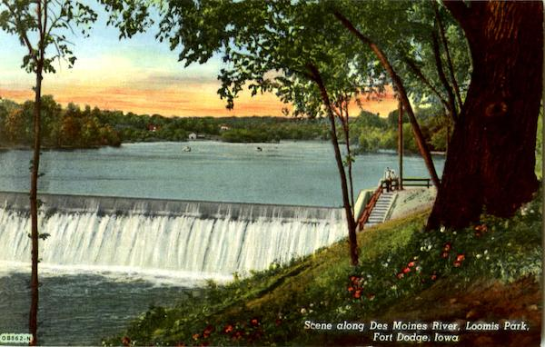 Scene Along Des Moines River, Loomis Park Fort Dodge Iowa