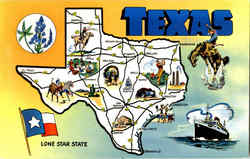 Texas Long Star State Postcard