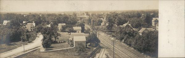 Bird's-View Brockton Massachusetts Trains, Railroad